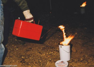 Ignition of a STOPGEL candle with a jerrycan